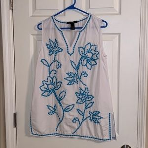 🌸Grace Elements White Floral Sleeveless Tunic